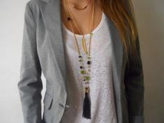 Long Tassel Necklace - Green and Black Tassel Necklace