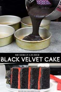 This black velvet cake recipe is a total show stopper! It's moist, packed with chocolate flavor, and naturally colored with dark cocoa powder! Almond Wedding Cakes, Wedding Cake Flavors, Cool Wedding Cakes, Black Velvet Cake Recipe, Black Velvet Cakes, Black Cake Recipe, Red Velvet, Cake Recipes, Dessert Recipes