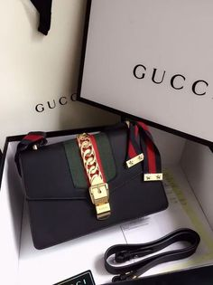 Tendance Sac 2017/ 2018 : Gucci Sylvie Leather Shoulder Bag Black. Find more Gucci handbags at www.luxtim...