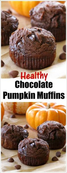 Chocolate Pumpkin Muffins Healthy Chocolate Pumpkin Muffins are made with whole grains, no oil, extra protein, lots of pumpkin and are absolutely irresistible! A twist on our super popular whole wheat pumpkin muffin recipe!Twist Twist may refer to: Pumpkin Muffin Recipes, Healthy Muffin Recipes, Healthy Muffins, Healthy Baking, Healthy Desserts, Delicious Desserts, Yummy Food, Healthy Brunch, Healthy Drinks