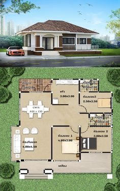Amazing three-bedroom one-storey house designs: Pick your bet! Model House Plan, My House Plans, House Layout Plans, Family House Plans, House Layouts, Bungalow Style House, Modern Bungalow House Design, Bungalow Floor Plans, House Outside Design