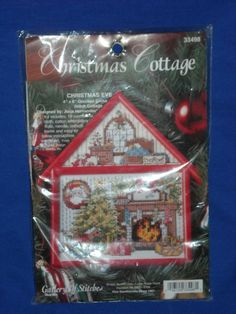 "Bucilla 1995 Christmas Eve Cottage Counted Cross Stitch 4"" x 6"" kit New Sealed #Bucilla"