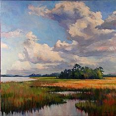 Clouds Over Marsh by Junko Ono Rothwell Oil ~ 30 x 30