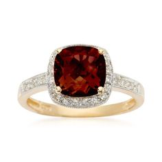 Elegance is re-defined with this classic 2.25 carat garnet ring in 14kt yellow gold. You don't have to have a January birthday to admire the handsome cushion-cut stone and the .10 ct. t.w. pave diamond frame. Garnet ring. Free shipping & easy 30-day returns. Fabulous jewelry. Great prices. Since 1952.