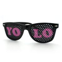 Black YOLO Wayfarer Sunglasses, Pink Letters