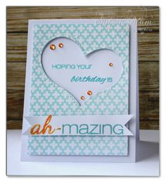Sylvia Blum: {Sylvias Stamping Place} – HAPPY BIRTHDAY, Michele!!! - 4/23/13.  (CAS-ual Fridays Stamps: Exclamations,  Amazeballs.  Spellbinders dies: Media Mixage - Hearts One).  (Pin#1: Birthdays...  Pin+: Valentines: Dies...; Peek-A-Boo...).