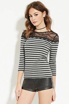 Striped Floral Lace Top | Forever 21 - 2000150379 // Gray/black
