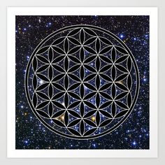 Flower of life in the space Art Print by Azima - X-Small Artwork Prints, Fine Art Prints, Flower Of Life, From The Ground Up, Affordable Art, Buy Frames, Outer Space, Flower Prints, Unique Art