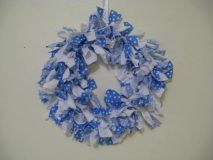Blue and White Polka Dot Rag Wreath - May Cause Memories www.maycausememories.com