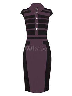 Split Cowl Neck Sleeveless Stripe Cotton blend Bodycon Dress for Woman - Milanoo.com
