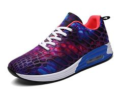 FLARUT Womens Mens Lightweight Walking Trainers Gym Fitness Running Shoes Breathable Sport Sneakers(Purple-b,40 EU)