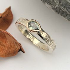 Green Sapphire white and yellow gold ring