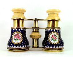 Victorian Hand Enameled And Ivory Mounted Lady's Opera Glasses With Floral Oval Panels On A Star Set Cobalt Blue And White Ground    c. 1860