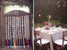 Loteria cards for the guest's escort cards & corresponding table numbers, and strung brightly colored papel picado