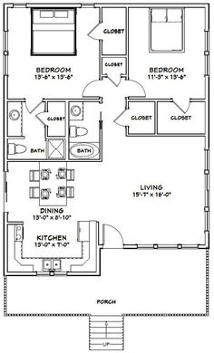 House 1136 sq ft PDF Floor image 1 Flip kitchen to other wall and swap closet in master bath into shower, making a much smaller linen closet. 30x40 House Plans, Metal House Plans, Small House Floor Plans, Small House Plans Under 1000 Sq Ft, The Plan, How To Plan, 2 Bedroom Floor Plans, Apartment Floor Plans, Korean House