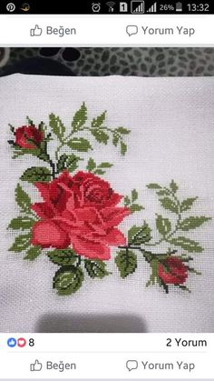 Trendy ideas for crochet rug chart cross stitch Easy Cross Stitch Patterns, Small Cross Stitch, Cross Stitch Rose, Cross Stitch Borders, Crochet Stitches Patterns, Cross Stitch Flowers, Cross Stitch Charts, Cross Stitch Designs, Hardanger Embroidery