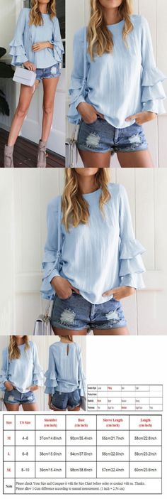 Women Tops Blouses: Hot Fashion Womens Summer Long Sleeve Tops Casual Blouse Loose Cotton T Shirt M -> BUY IT NOW ONLY: $2.99 on eBay!