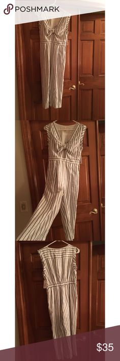Pinstripe Jumper Size M. Blue/white pinstripe jumper. Cropped leg. Cut-out detailing on top. New with tags! Everly Other