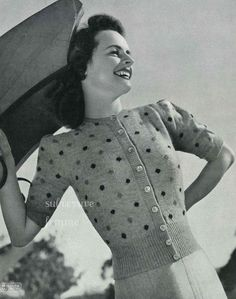 knitting pattern 'Sue', puff sleeved cardigan with polka dots - vintage knitting pattern PDF ( knitting pattern 'Sue', puff sleeved cardigan with polka dots - vintage knitting pattern PDF Knitting Terms, Hand Knitting, Knitting Patterns, Vogue Knitting, Knitting Tutorials, Knitting Machine, Stitch Patterns, Crochet Patterns, Cute Cardigans