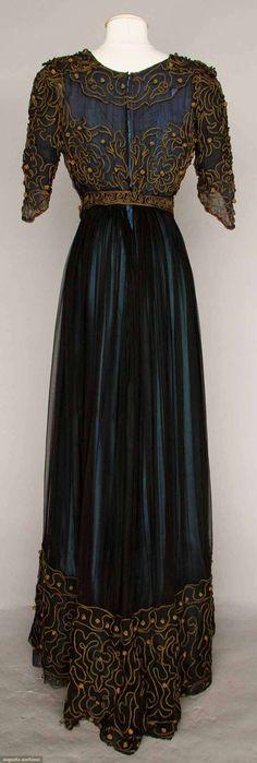 Afternoon Dress (image 2)   1910   silk chiffon, soutache   Augusta Auctions   May 10, 2016/Lot 1008