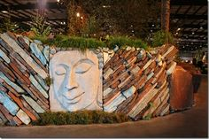 Beautiful stacked stone wall by Mariposa Gardening and design at the SF Garden Show 2012. #sfgs