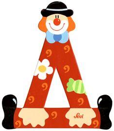 Ξύλινο Γράμμα Δ 10 cm Clown Sevi   NakasPaper Invitation Cards, Clowns, Invitations, Activities, Lyrics