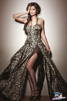 Esha Gupta in Satin Leopard Print Gown with Sheer Under Layer. Absolutely Sexy and Stunning!