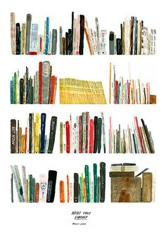 bookshelf painting by Jay Cover. I love this so much.