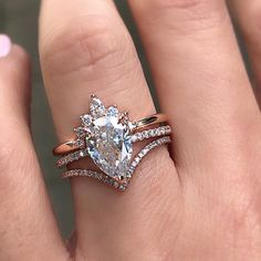 """adf25bbd9a5d51 Trabert Goldsmiths on Instagram: """"That stacking life 💯 Say hello to our  latest Aura solitaire featuring a gorgeous #pearcut Moissanite set in rose  gold."""