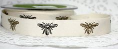 Bumblebee Twill Ribbon Black/Gold !00% Cotton Ribbon- 3/4' wide by the yard