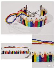 Loom Bracelet Patterns, Bead Loom Bracelets, Bead Loom Patterns, Beading Patterns, Cross Stitch Bookmarks, Cross Stitch Embroidery, Bead Loom Designs, Loom Weaving, Brick Stitch