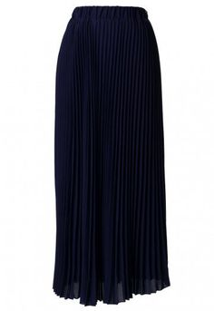 Chiffon Navy Blue Pleated Maxi Skirt - Bottoms - Retro, Indie and Unique Fashion Unique Fashion, Women's Fashion, Pink Maxi, Pleated Maxi, Vintage Skirt, Chiffon Fabric, Cosmopolitan, High Waisted Skirt, Navy Blue
