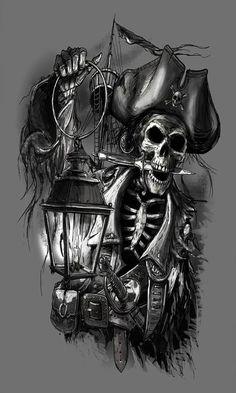 Pirate Tattoo Designs And Ideas Pirate Skull Tattoos, Pirate Ship Tattoos, Pirate Tattoo Sleeve, Deco Pirate, Pirate Art, Pirate Ships, Body Art Tattoos, Sleeve Tattoos, Gun Tattoos