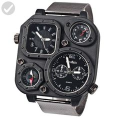 Oulm Ori-0638 Men¡®s Watch with Double Movt Compass Thermometer Black Square Dial Steel Band Black Case - Little daily helpers (*Amazon Partner-Link)