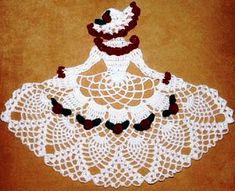 Crochet pattern for a thread June birthday crinoline girl doily pattern Crochet Doily Patterns, Thread Crochet, Filet Crochet, Crochet Motif, Crochet Doilies, Crochet Flowers, Knitting Patterns, Knit Crochet, Crochet Doll Dress