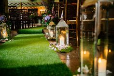 Bring the outdoors in with a faux-grass aisle runner like this one at The Wild Boar – it'll go perfectly with the brown tones that come with having a rustic theme. We can just picture a bride with the perfect flower crown gliding down this aisle.