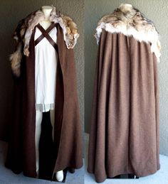 This is probably the sixth (or so) cloak I've done, but it's the first one in brown I've updated my techniques a little since the first one, adding snap. Cloak of Winterfell MKII Renaissance Costume, Medieval Costume, Medieval Dress, Medieval Clothing, Barbarian Costume, Moda Medieval, Costume Carnaval, Character Outfits, Costume Design