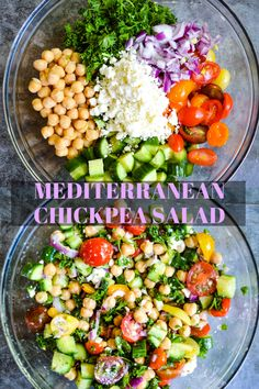 This Mediterranean Chickpea Salad is a light and fresh dish with delicious flavor. Packed with veggies, herbs and the perfect dressing to go with it. Serve up the best healthy vegetarian Mediterranean bowl today! Mediterranean Chickpea Salad, Mediterranean Diet Meal Plan, Mediterranean Dishes, Mediterranean Vegetarian Recipes, Vegetarian Salad Recipes, Healthy Salads, Healthy Recipes, Diet Salad Recipes, Fresh Salad Recipes
