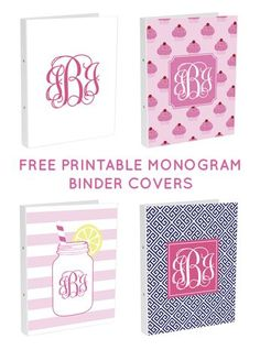 Free Printable Monogram Binder Covers from @chicfetti - make your own binder covers for back to school!