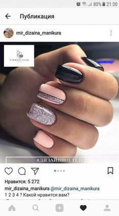 """If you're unfamiliar with nail trends and you hear the words """"coffin nails,"""" what comes to mind? It's not nails with coffins drawn on them. It's long nails with a square tip, and the look has. Black Nail Designs, Nail Designs Spring, Simple Nail Designs, Love Nails, Pretty Nails, My Nails, Winter Nails, Spring Nails, Spring Nail Art"""