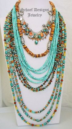 Schaef Designs spiny oyster & turquoise sterling silver necklace pairing | New Mexico