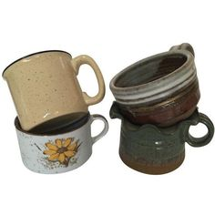 Vintage Rustic Soup Mugs - Set of 4 ($12) ❤ liked on Polyvore featuring home, kitchen & dining, drinkware, fillers and dinnerware