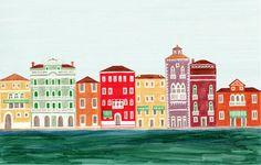 Venedig Italien bunte Illustration Kunstdruck 11 x 17 von annasee