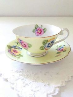 Vintage Occupied Japan Tea Cup and Saucer Diamond Pattern Cottage Style