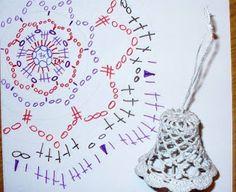 Weihnachtsglöckchen - New Ideas Crochet Christmas Wreath, Crochet Christmas Decorations, Crochet Ornaments, Holiday Crochet, Christmas Knitting, Diy Christmas Ornaments, Crochet Thread Patterns, Crochet Snowflake Pattern, Beading Patterns Free
