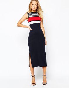 Warehouse   Warehouse Stripe Side Split Dress at ASOS