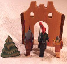 Kinderkram Waldorf German Natural Wood Castle Wall Knights Horses Archer Tree | eBay