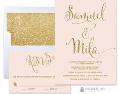 Metallic doily wedding invitation pink and gold by oohlalaxevents