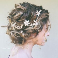 curled bridal updo with gold embellished hairpiece ~ we ❤ this! moncheribridals.com
