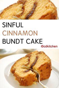 Made with yellow cake mix, vanilla pudding mix, oil, water, eggs, vanilla extract, cinnamon, sugar   CDKitchen.com